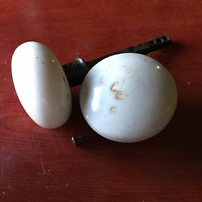 Lot Of 2 Vintage Victorian white Porcelain Antique Door Knobs #2