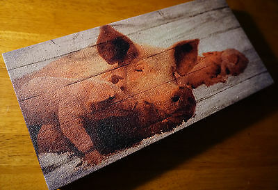 MAMA PIG & PIGLETS Wood Framed Canvas Sign Rustic Country Farm Home Decor NEW