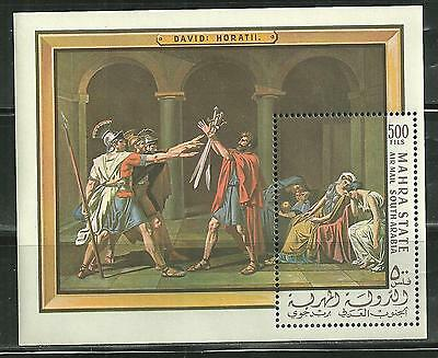 Mahra State Bl 5A Mnh S/s Oath Of Horatii By David Mcv 20.00