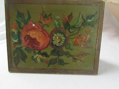 Vintage Tin Box Greenwith Red Rose 5 1/2 x 4 1/2 x 1/2
