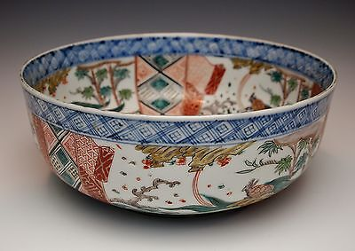 HAND PAINTED JAPANESE IMARI SERVING BOWL Finest Antique Porcelain Early 1900s