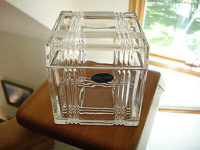 Elmira Savings Bank Lead Crystal Candy Coin Box w/ Label Bank Give Away Scarce