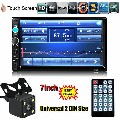 "2 Din 7"" Touch Screen In Dash Stereo Car MP5 Player Bluetooth FM Radio+camera UK"