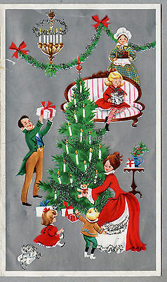 #666 GLITTERED, An Old Fashioned Christmas! Vintage Christmas Card-Greeting
