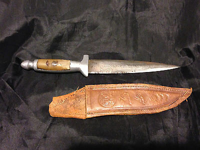 Old Spanish Souvenir Bullfighter Knife with Horn Handle, Etched, in Sheath, VG