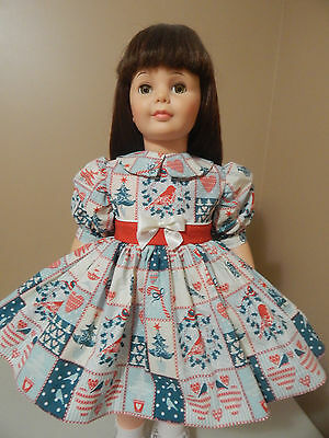 Winter Patchwork In Blue Dress For Patti Playpal