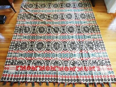 1842 antique GEORGE MILLER WOVEN COVERLET blanket BEDSPREAD red/green/brown