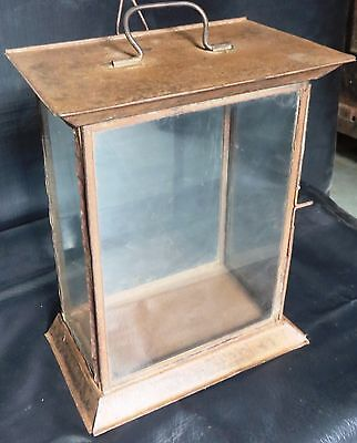 Antique watch Showcase Tin small display Cabinet Tabular Hanging Carrying  Part