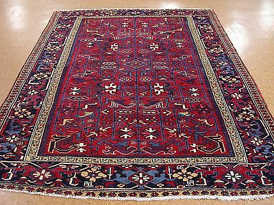 7 x 10 ANTIQUE PERSIAN HERIZ SERAPI Tribal Hand Knotted Wool RED Oriental Rug