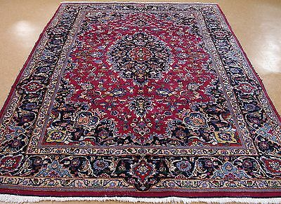 7 x 10 PERSIAN MASHAD Hand Knotted Wool RED BLUE Oriental Rug Carpet