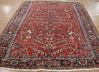 8 x 11 ANTIQUE PERSIAN HERIZ SERAPI Tribal Hand Knotted Wool RUST Oriental Rug