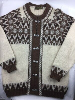 Vintage Men's Nordstrikk Norwegian Brown Cream Cardigan Wool Sweater M 50-52