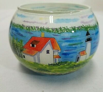 Curtis Island Hand Painted Eglomise Votive Candle Holder Marsha York Camden, ME