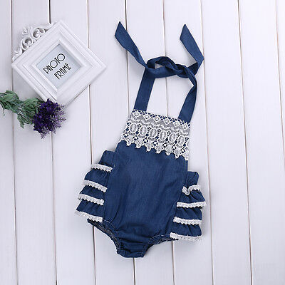Newborn Baby Girls Lace Floral Romper Jumpsuit Ruffles Outfits Backless Sunsuit