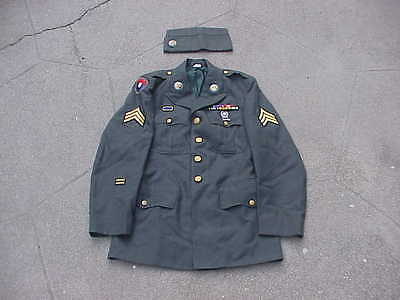 Vietnam War US Army Dress Uniform Jacket & Hat 9th Inf Div With Insignia & Patch