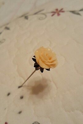 Victorian Hat Pin Vintage Inspired Rose Bead Antique Brass Fitting Strong