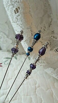 Antique Inspired Victorian Hat Pins Vintage Style, Crystal Beads Sharp, Strong