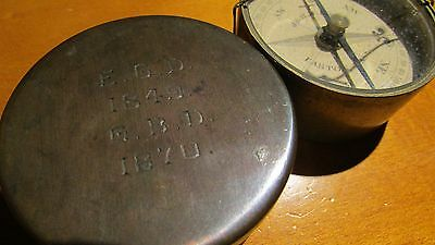 J & H.m. Pool Easton Mass. Brass Cased Dry Card Compass Vintage Antique 1849 187