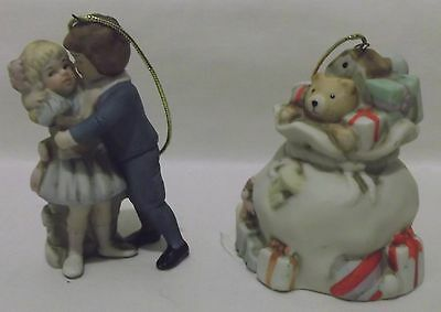 Shackman Collection 2 Ceramic Ornaments 1989 Victorian ~ Children & Bag of Toys