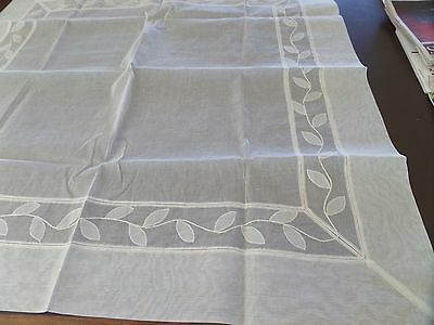 Square Ivory Starched 100% Cotton Light Tablecloth & Napkins