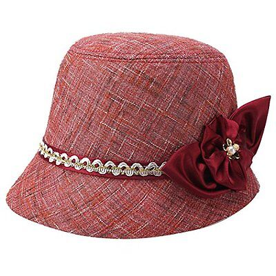 Flax Bucket Hat Vintage Cloche Sun Hat Party Church Top Hat for Women