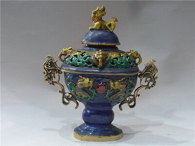 China's early noble use of copper fetal cloisonne Smoked incense burner 4 god