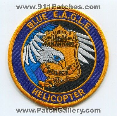 San Antonio Police Department Blue EAGLE Helicopter Patch Texas TX