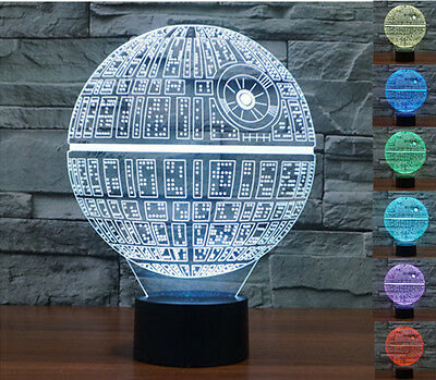 Star Wars Death Star 3D LED Night Light Touch Switch Table Desk Lamp 7 Color US