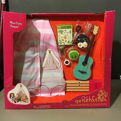 Our Generation Tepee Set for 18 inch Dolls New! Fits American Girl -Damaged Box!