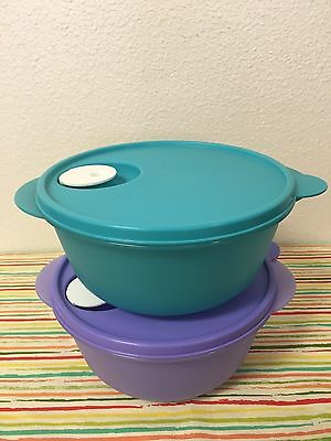 Tupperware Crystalwave Microwave  Containers Set Of 2 Lilac And Aqua 6 1/4 Cups