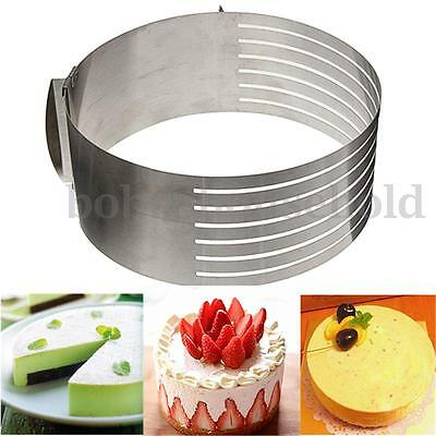 Adjustable Round Stainless Steel Mousse Cake Ring Mold Layer Slicer Cutter 6-12""