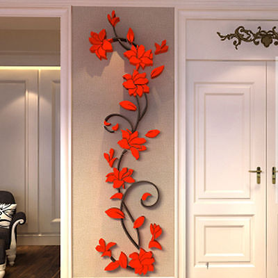 1Pc Removable 3D Acrylic Red Flower Vinyl Quote DIY Wall Sticker Art Decal Decor