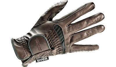 Uvex Riding gloves twinflex brown leather Stretch Insert touch screen capable