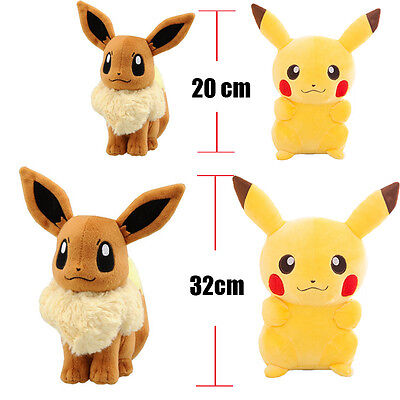 Rare Pokemon Collectible Plush Character Soft Toy Doll Pikachu Eevee Action Set