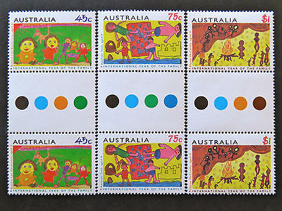 Australian Decimal Stamps:1994 International Year of Family-Gutter Set 3x2 MNH