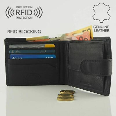Genuine Mens Cowhide Leather Anti-RFID Blocking Technology 4 Cards Wallet Coin