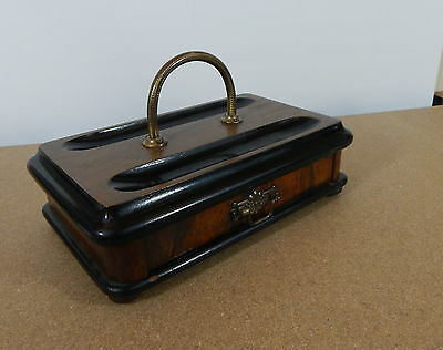Victorian Mahogany pen stand desk tidy with drawer and Brass handle 25x16cm lft