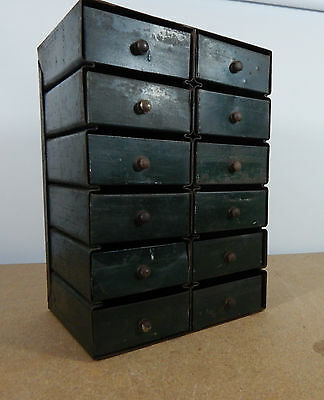small Metal chest Of Drawers Cabinet Industrial Engineers 12 Drawers 27x19x14cm