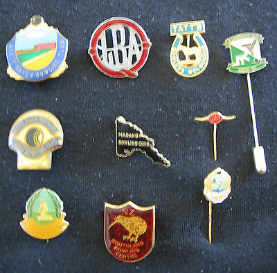 Vintage Collection of 10 Bowling Pins & Enamel Badges ~ No.1