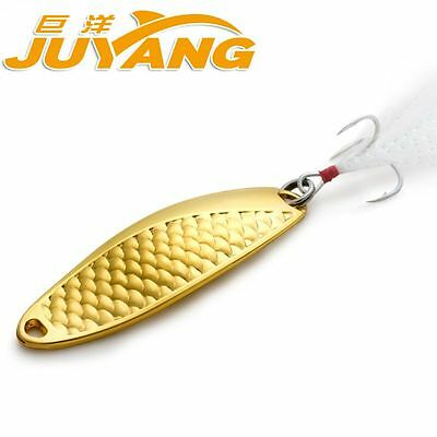 JUYANG single metal scale wave casting artificial baits fishing spoon lure