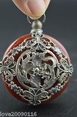 China Old Collectibles Agate Armoured Pair Dragon & 4 Butterfly Noble Pendant