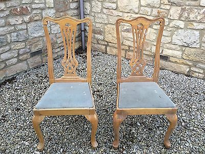 2 X Antique Queen Anne Legs Dining Bedroom Chairs - Shabby Chic