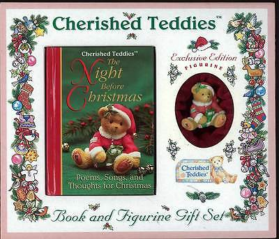 "Cherished Teddies ""The Nght Before Christmas"" Book and Figurine Set"