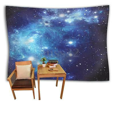 """Shades of Blue Sky Galaxies Fabric Tapestry Home Wall Decor 59"""" x 51"""" For Room"""