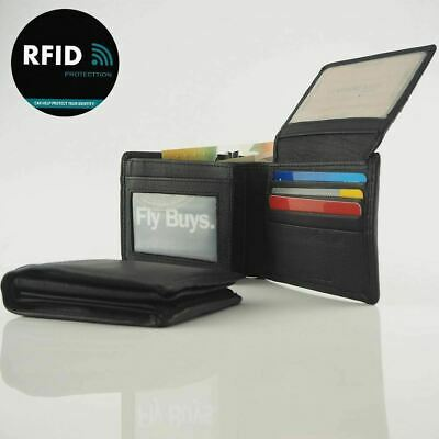 Men's Genuine Cowhide Soft Leather RFID 18 Cards Wallet Coin New Black