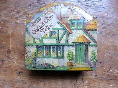 Rare Vintage Tuckers Of Totnes Clotted Cream Toffee Tin Thatched Cottage Green