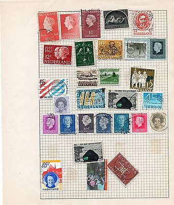 Sheet of used NETHERLANDS stamps (3)