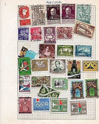 Sheet of used PORTUGAL stamps (1)