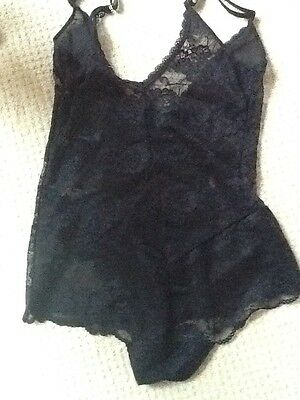Marks And Spencer Black Lace Body/ Teddy/ Cami Siize 16 Bnwot