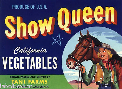 Crate Label Vintage Cowgirl Horse Equestrian Show Queen Original Dale Evans